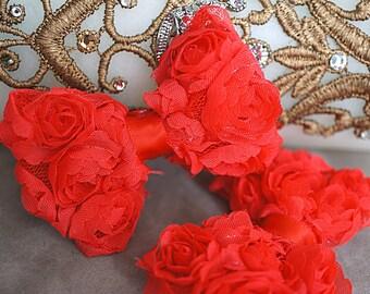 "Set of 2 Shabby Mini Rosette Bows - Red Fabric Shabby Bow - Mini Rosette Bow - Shabby Flower bows - Shabby Chiffon Rosette 2.5"" bow"