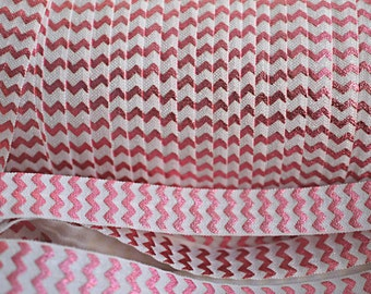 5 yards - Foil Print Pink Chevron & White FOE - 5/8 Fold Over Elastic - Foldover Elastic - printed FOE- Elastic by the yard - DIY