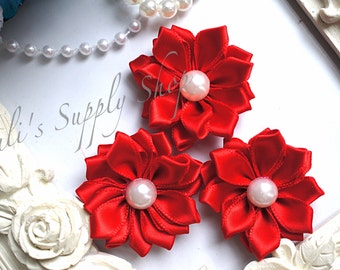 """3 Red 1.5"""" Satin Flowers w/ Pearl Center - Petite Satin flower - Satin Ribbon Flower - Fabric Flower - wholesale flowers"""