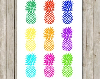 8x10 Pineapple Set Print, Colorful Wall Art, Fruit Printable, Fruit Poster, Home Decor, Kitchen Art, Gold Art, Instant Digital Download