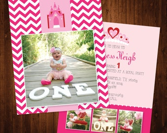 5x7 Princess Themed First Birthday Invitation with Pink Chevron for Girl