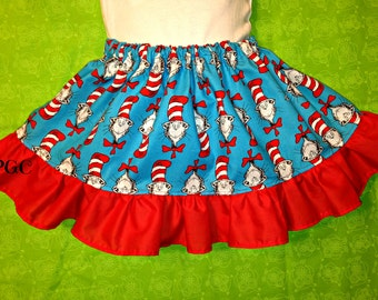 Girls Dr Seuss Cat in the Hat Blue and Red Ruffle Skirt