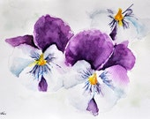 ORIGINAL Watercolor painting, Floral art Illustration, Purple Pansy Painting 7x10 inch