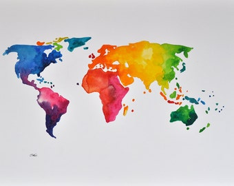 ORIGINAL Abstract World Map Painting, Colorful Decorative Watercolor Map 14x20 Inch, Rainbow Colored World Map
