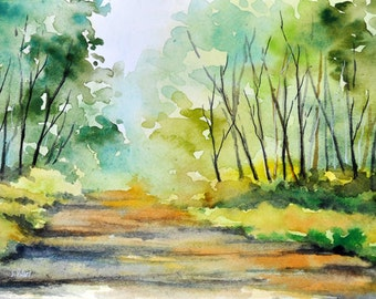 Original Watercolor Painting 5.5 x 8 inch, Abstract Forest Landscape, Apple Green, Lime Green, Bright Colors