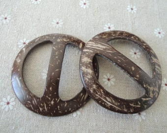 2Pcs 69mm large  Coconut Shell Buckle  coconut button  Brown (W540)