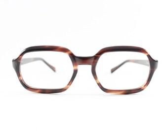 Vintage 1960s Dark Brown Tortoiseshell Geometric Horn-Rimmed Eyeglass Frame