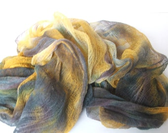 Cotton gauze for nuno felt scarf Hand dyed cotton for art project 041204