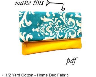 Fold Over Clutch Purse Sewing Pattern, PDF Purse Pattern, Spring, Summer