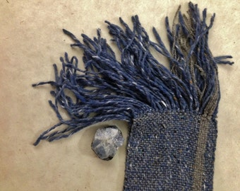 the bonny blue, hand-woven blue tweed woolen scarf..by The Weaver of Words...weaving fibers & fables