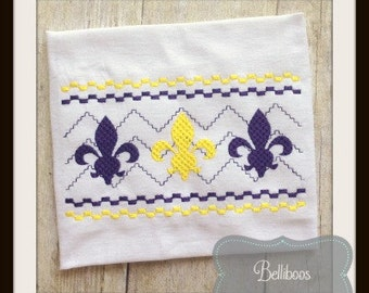 Fleur de Lis Faux Smocking - Fleur de Lis Embroidery Design - Faux Smocking - Embroidery Design
