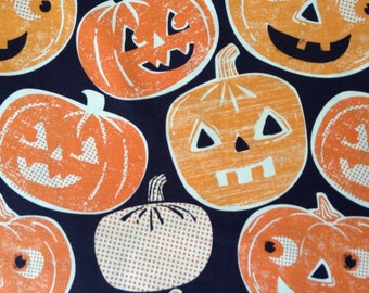 One Half Yard of fabric Material Halloween Jack-o-lanterns and Pumpkins