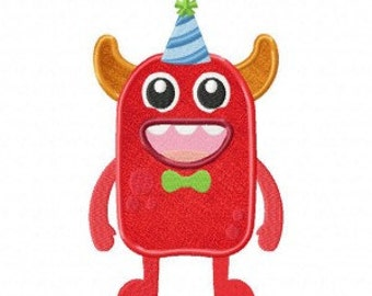 Monster Bday Available In Both Applique and Stitched