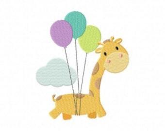 Up and Away Giraffe Machine Embroidery Design