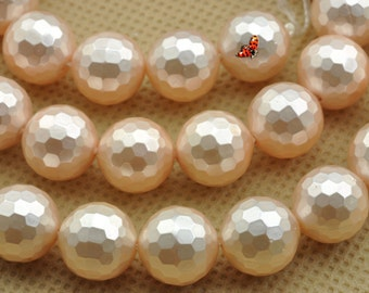 Solid color Shell Pearl faceted round beads 10mm,37 pcs