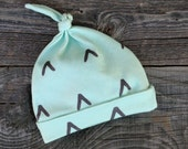 SALE - Mint and Gray Chevron Knotted Hat