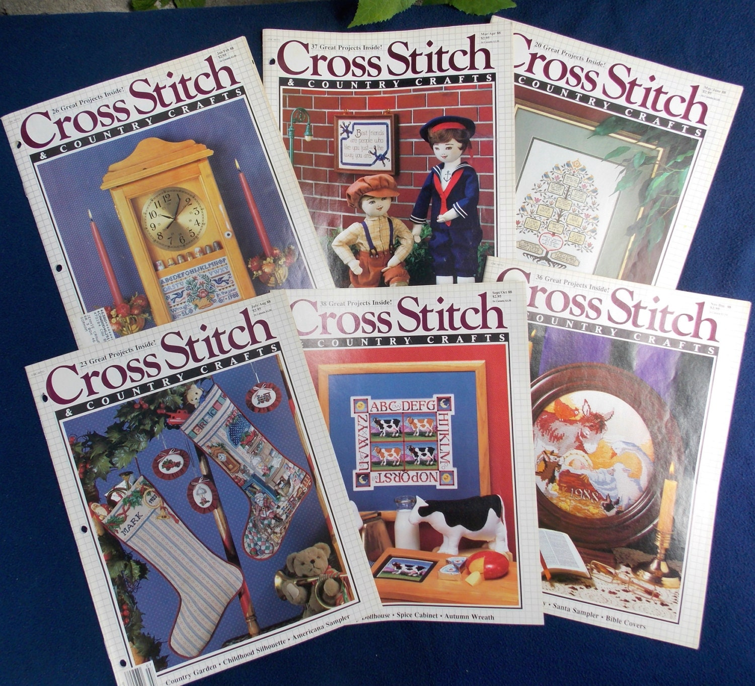 Cross stitch country crafts magazine back issues - 1988 Cross Stitch And Country Crafts Magazine 6 Vintage Issues Sold By Grammiejennie