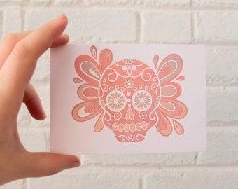 Small Sugar Skull Letterpress Postcard