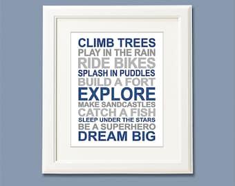 Navy and grey typography Art Print , Children wall art, kids Room Decor, baby boy room, boy rules, nursery art, typography -UNFRAMED