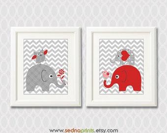 Red and grey elephant nursery art prints - 8x10 - Set of two - Children wall art, chevron, owl, love bird - UNFRAMED