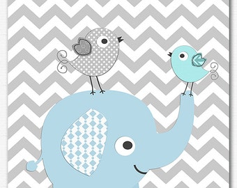 Blue and grey elephant baby boy nursery art Print - 8x10 - boys art print, baby boy wall art, chevron,bird, aqua, light blue, grey