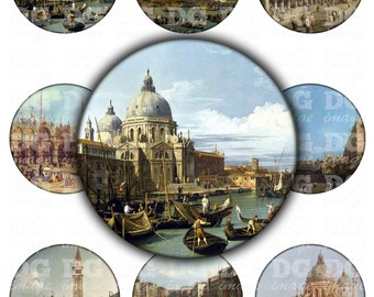 Vintage Venice 2.5 inch circle images - pocket mirrors, magnets, paper weights - Veneto, Grand Canal, Piazza San Marco, Gondola, Venetian