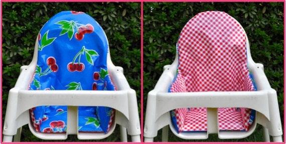 Cushion For Ikea Antilop Blue Cherries Red Mini Gingham