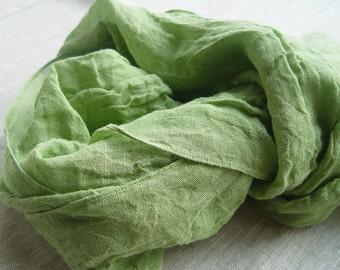Pure linen scarf, natural linen green shawl, linen spring scarf