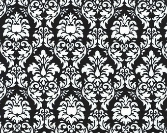 Michael Miller Fabric Petite Dandy Damask in Black and White