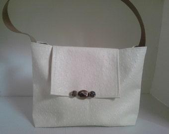 Cream color faux Ostrich vinyl purse