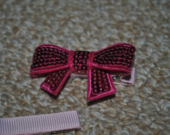 Ribbon Bow hair clip set - Pink Sparkle Bow - ClipItUp