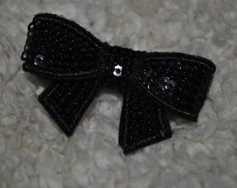 Ribbon Bow hair clip - Black Sparkle Bow - ClipItUp
