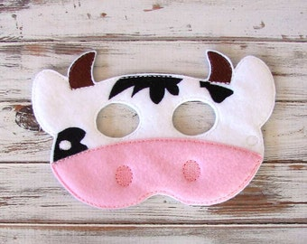 Cow Mask - Felt - Kids Mask, Dress Up, Costume, Halloween - Farm Animal, Pretend Play