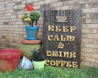 Rustic Handmade custom built wooded sign with coffee theme