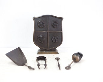 United Kingdom Steel Fireside Tidy Set Hidden by English Shield Depicting Irland, Scotland, England, and Wales