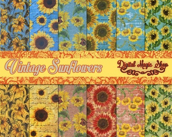 Vintage SUNFLOWERS - Digital Scrapbook Paper - INSTANT DOWNLOAD Personal and Commercial