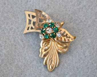 Green Rhinestone and Gold Tone Brooch or Pendant Vintage