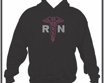 Nurse Hoodie/ Nurse Sweatshirt/ Nurse Clothing/ Nurse Gift/ RN Gift/ RN/ Rhinestone RN Nurse with Caduceus Nursing Black Hoodie Sweatshirt