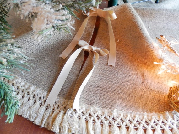 Burlap Christmas 40'' 52'' Tree Skirt With Fringe By