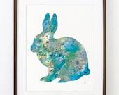Blue Bunny - Rabbit Art Watercolor Painting - 8x10 Print - Teal, Blue, Yellow, Grey, Purple - Wall Decor, Housewares - Silhouette Art