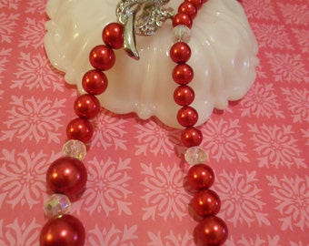 Red Glass Pearls with Rose brooch