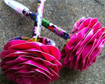 Duct Tape Flower Rose Pen with Rhinestone Center