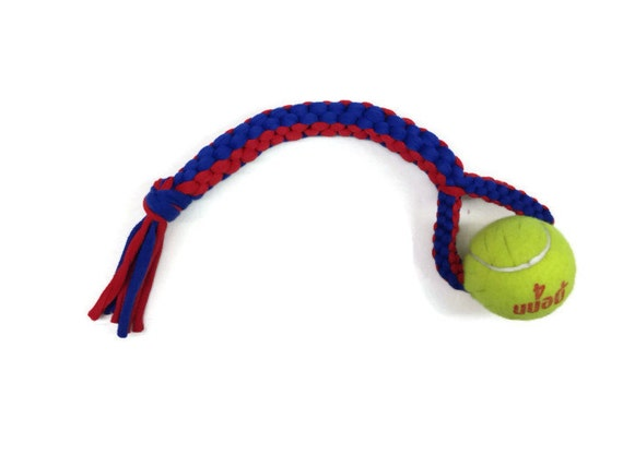 Red and Blue Dog Toy, Upcycled T-shirt and Tennis Ball, Super Strong Dog Tug