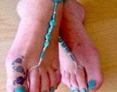 A pair of barefoot sandals in turquoise seedbeads and hearts boho festival hippie