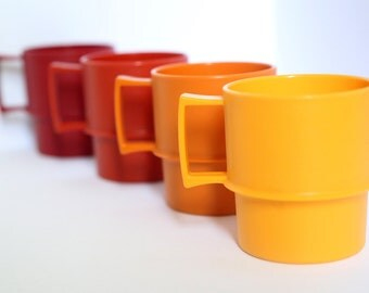 Vintage Stackable Tupperware Cups / Coffee Mugs / Made in Canada / Camping Shatterproof Kitsch Plastic Picnic Cups