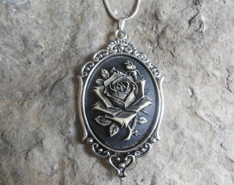 """Stunning Hand Painted Rose Cameo Pendant Necklace (black)---.925 plated 22"""" Chain--- Great Quality"""