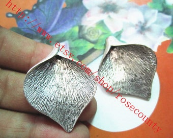 wholesale 10pcs 33x27mm antiqued silver leaf bead caps charms findings