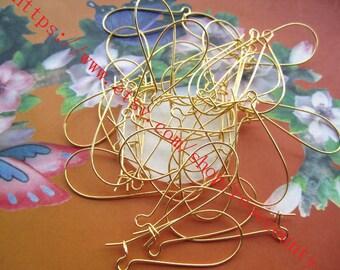 100pcs Gold plated 26mm kidney earring hooks findings