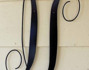 """22 inch Black Script Metal Letter """"U"""" Door or Wall Hanging"""