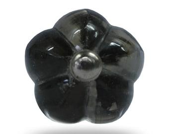Modern black and white swirl glass knob kitchen by trincaferro for Glass bureau knobs
